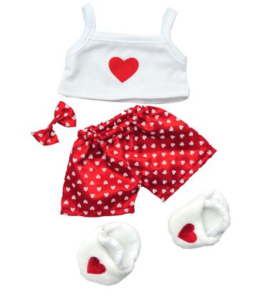 Red and White Heart PJs - 8""